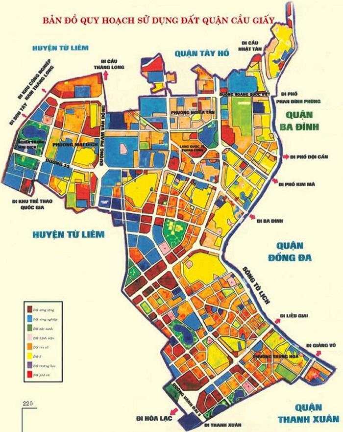 Bản đồ sử quy hoạch sử dụng đất quận Cầu Giấy đến năm 2020
