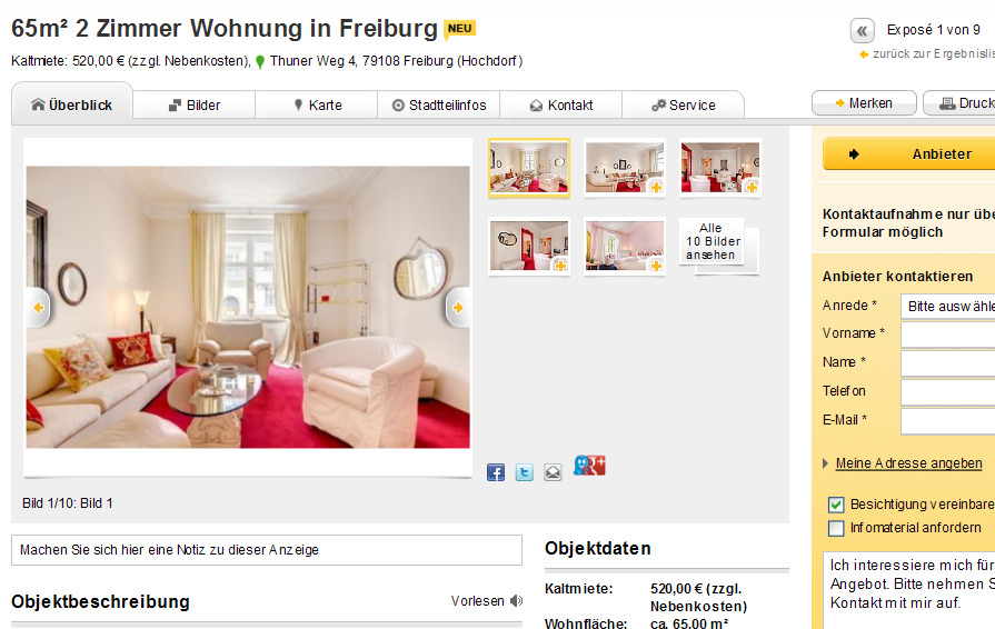 65m 2 zimmer wohnung in freiburg thuner weg 4 79108 freiburg. Black Bedroom Furniture Sets. Home Design Ideas