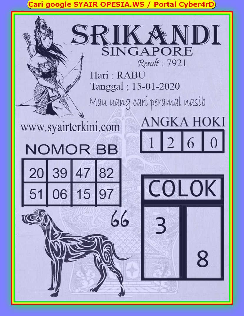 Kode syair Singapore Rabu 15 Januari 2020 67