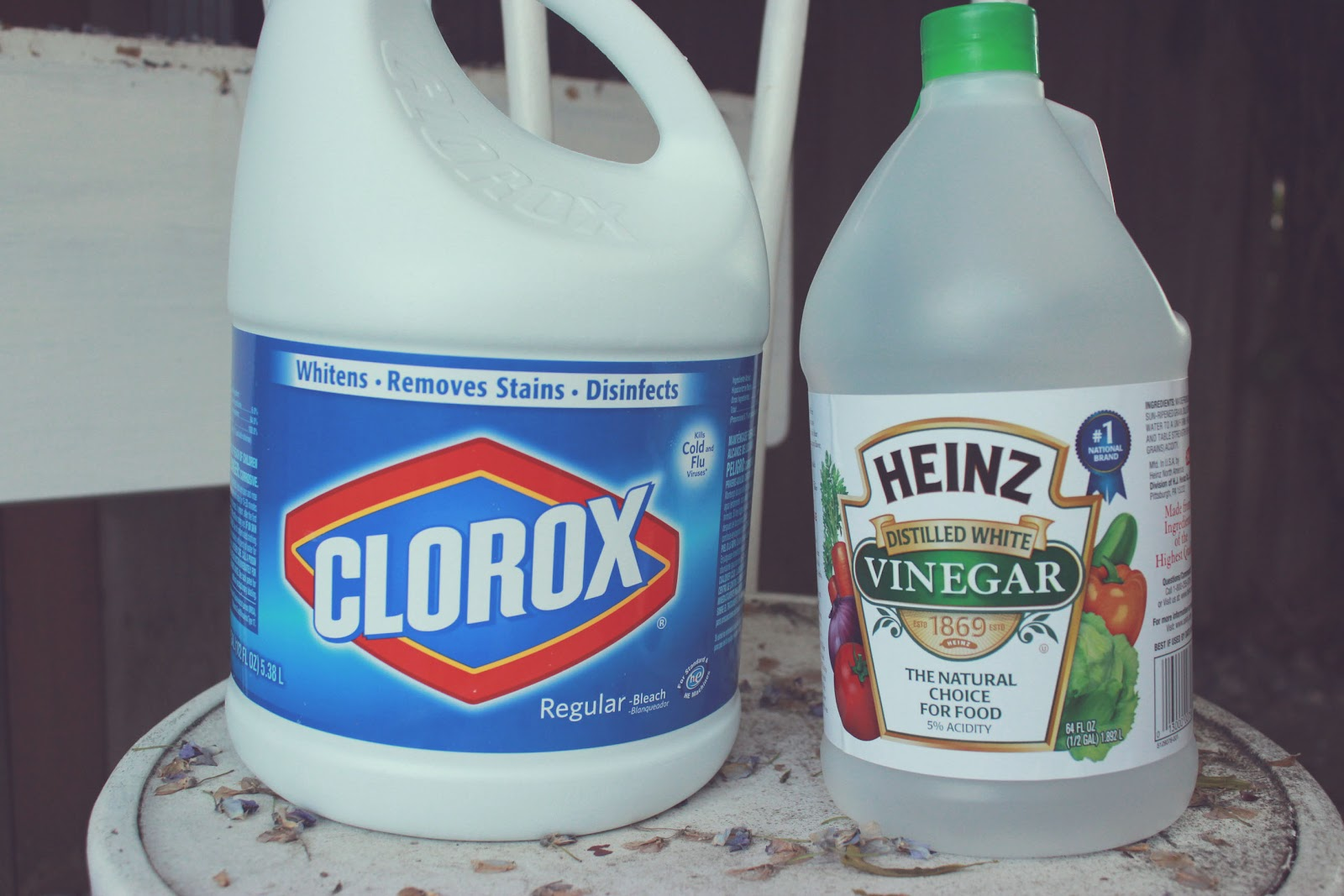 Combine in a bucket 2 parts water and one part bleach to make the bleach  solution.