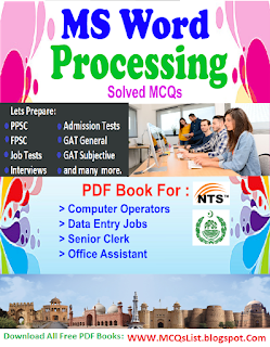 Solved MS Word Processing PDF Book For Computer Tests