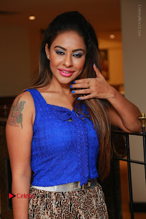 Telugu Actress Srilekha Reddy Latest HD Pos in Sleeveless Blue Top at Muse Art Gallery  0033.JPG