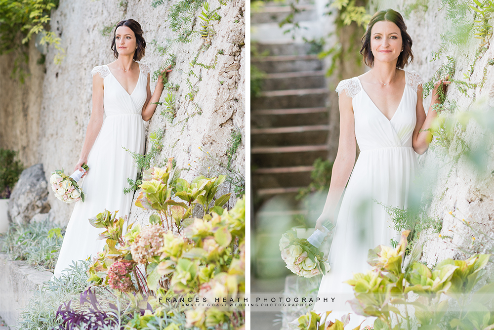 Bridal portraits with garden