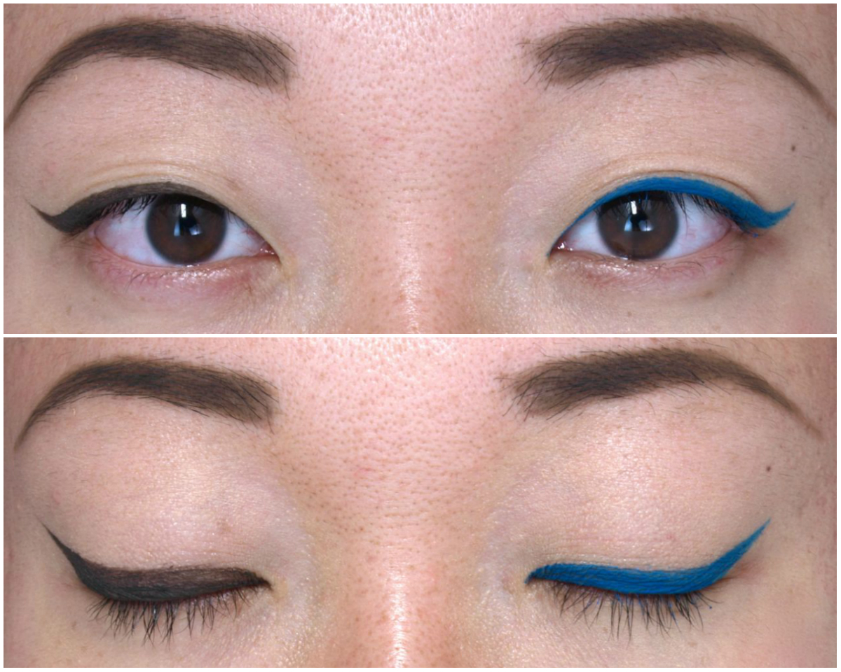 "MAC Guo Pei Fluidline Gel Eyeliners in ""Darkness of Calm"" & ""Blue Fountain"": Review and Swatches"