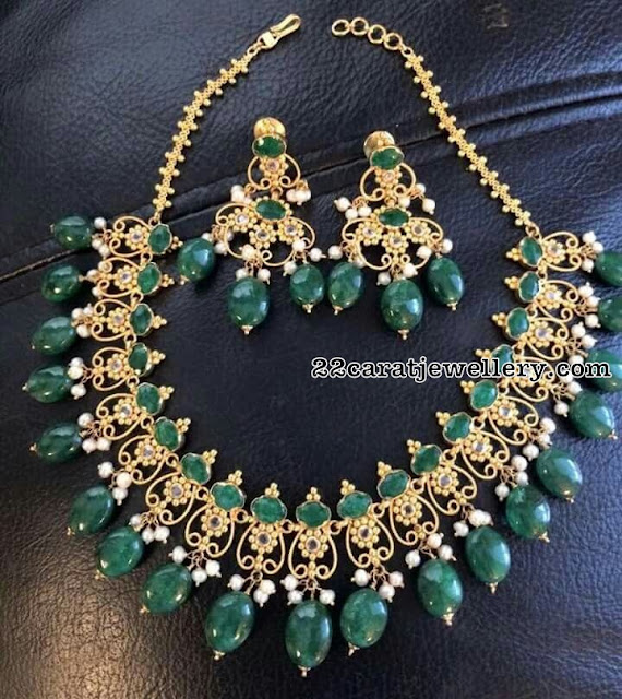 Emerald Uncut Necklace with Emerald Drops