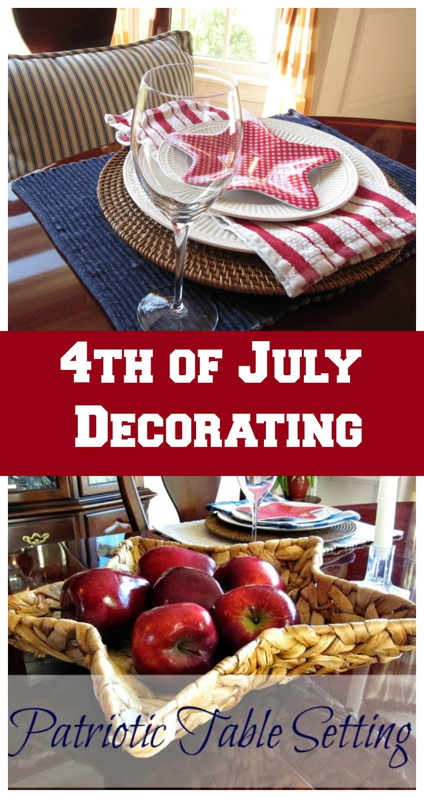 Simple and Casual Patriotic Table Decorating - A Patriotic Table Setting using a few simple red, white and blue pieces