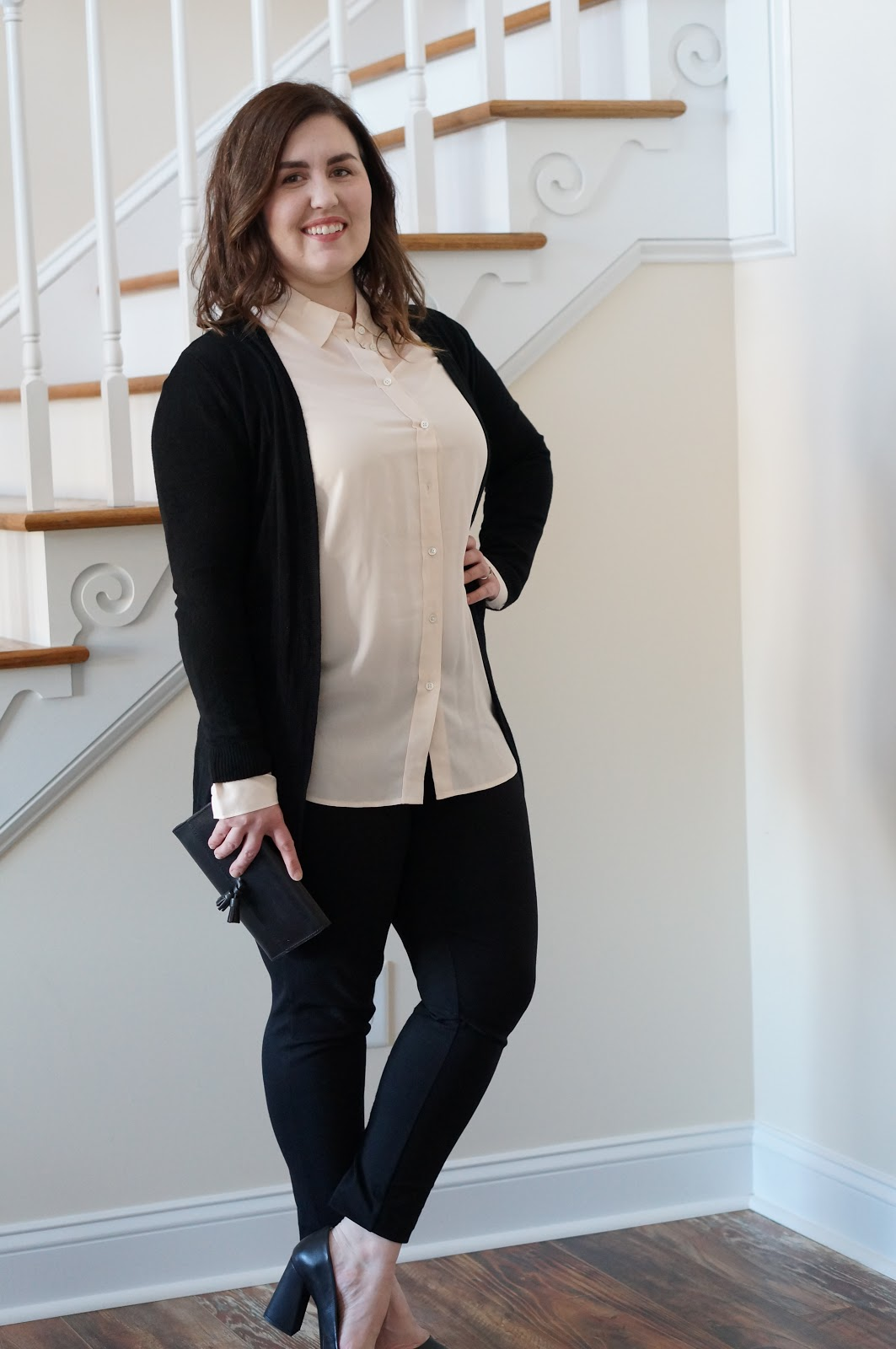WINTER STYLE | EVERLANE RELAXED PINK SILK SHIRT by North Carolina style blogger Rebecca Lately
