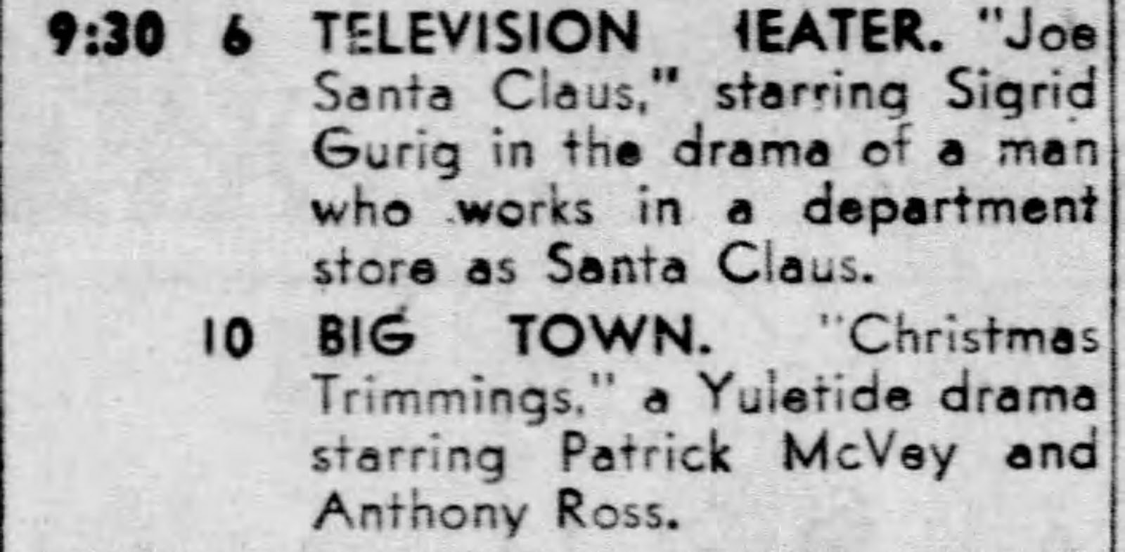 Santas Working Overtime: Christmas TV 1951 - Joe Santa Claus (Dec ...