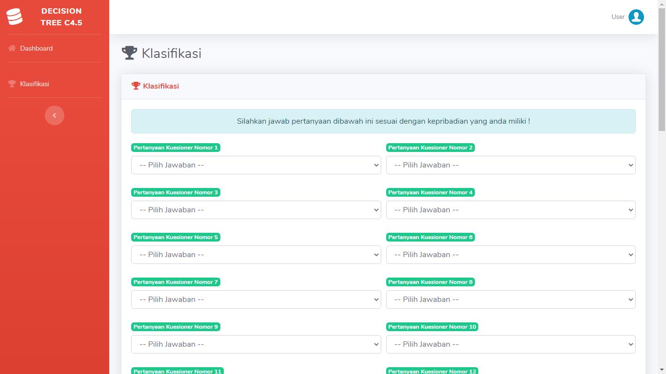 Aplikasi Data Mining Klasifikasi Karakteristik Kepribadian Siswa Metode Decision Tree Algoritma C4.5 - SourceCodeKu.com