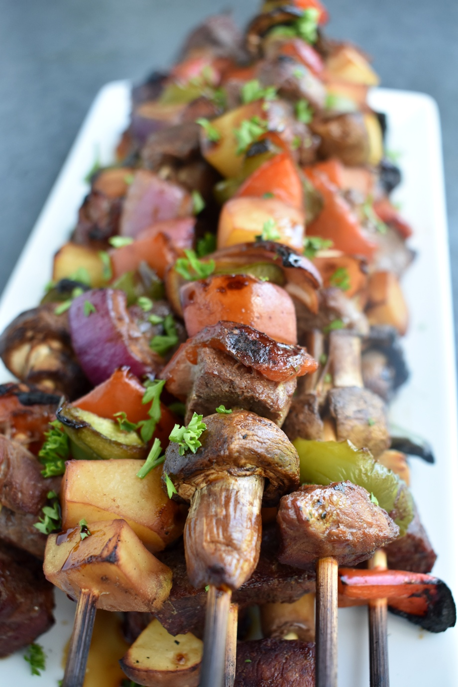 plate of steak kebabs
