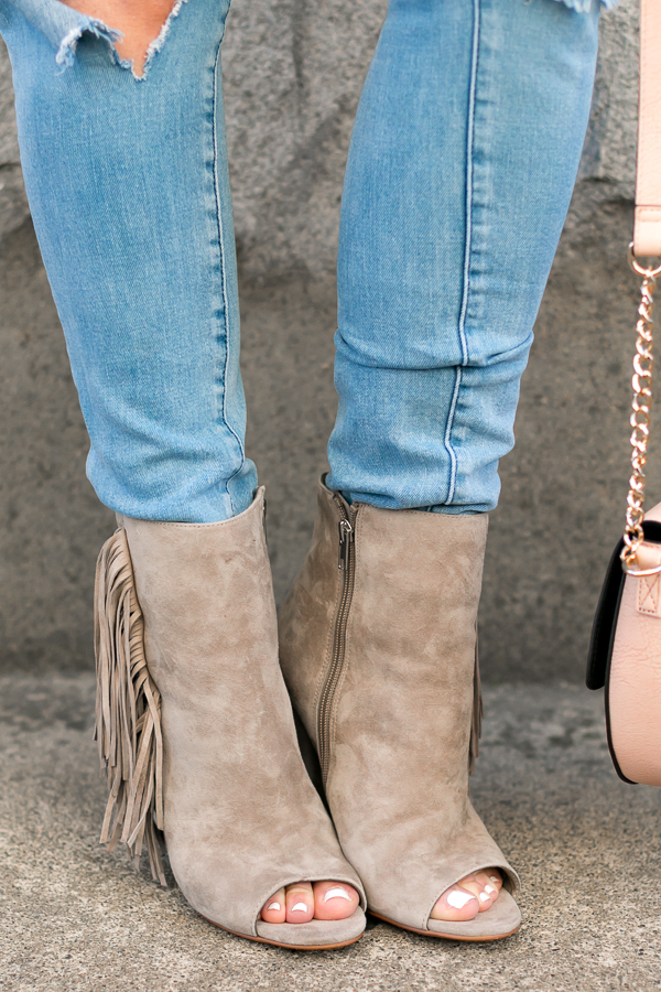 grey fringe booties open toe booties