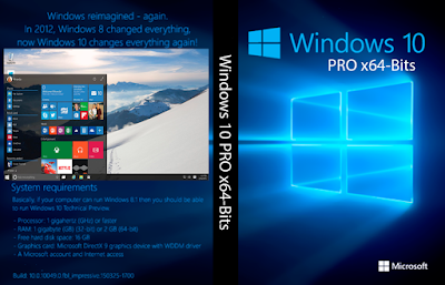 Windows 10 PRO x64-Bits DVD Capa