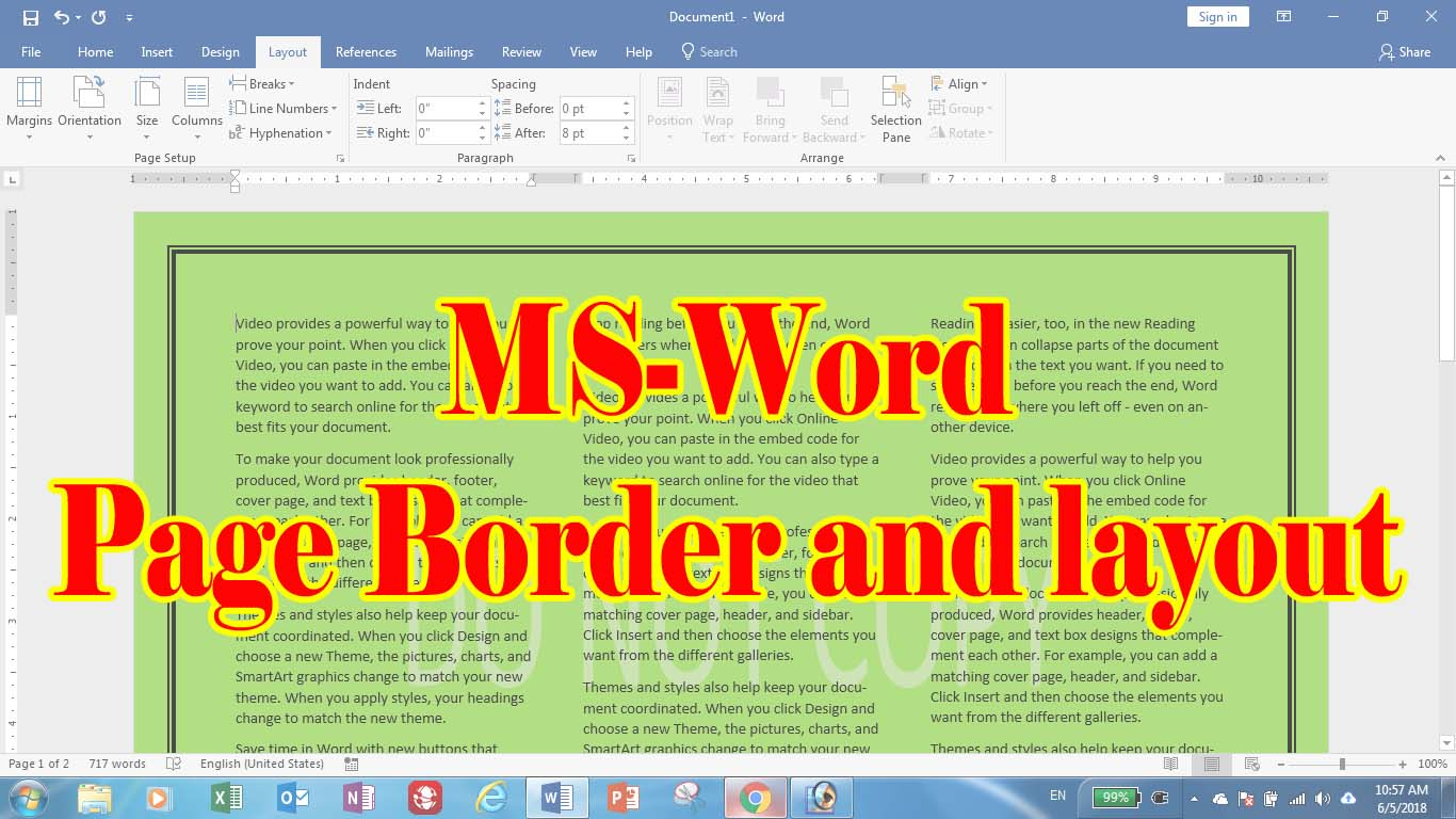 page border and layout