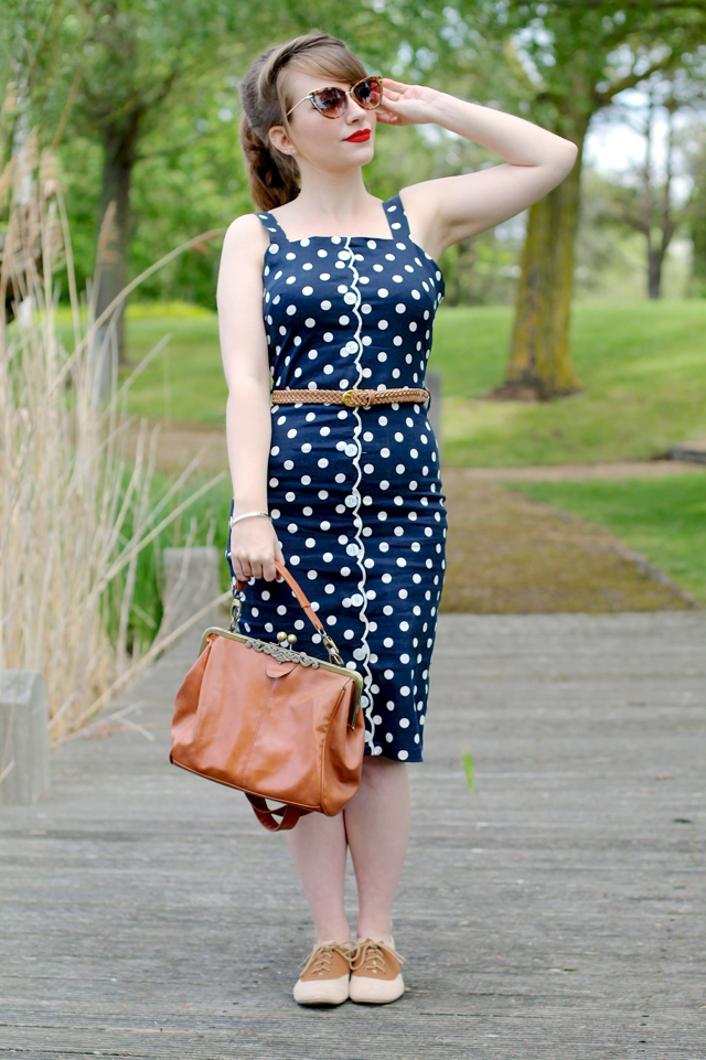 The Joanie Clothing dixie navy polka dot dress review