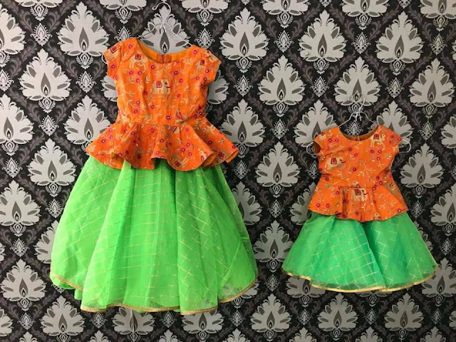Green and Orange Checks Kids Lehenga