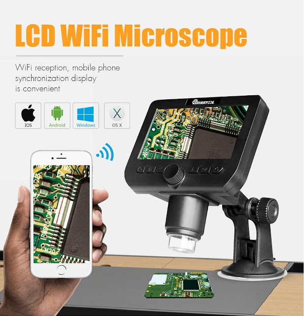 MUSTOOL G610 2MP 1000X 4.3-Inch LCD Wireless Microscope Support IOS Android System Built-in Rechargeable Battery & 8 Adjustable Leds