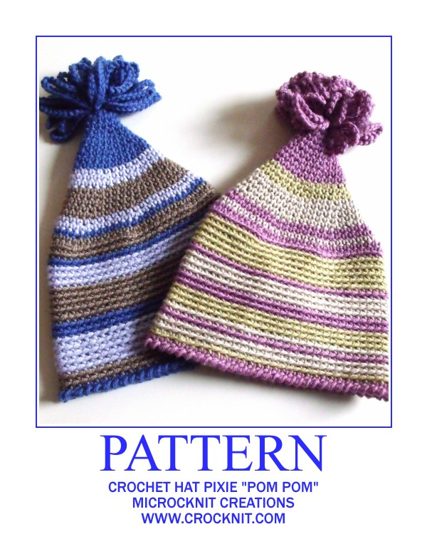 Microcknit creations baby pixie hats for a new year crochet patterns how to crochet baby hats pom pom hats pixie dt1010fo