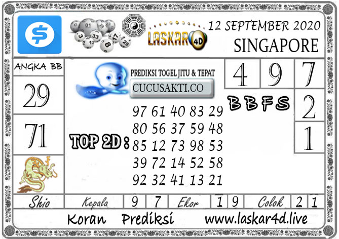 Prediksi Togel SINGAPORE LASKAR4D 12 SEPTEMBER 2020