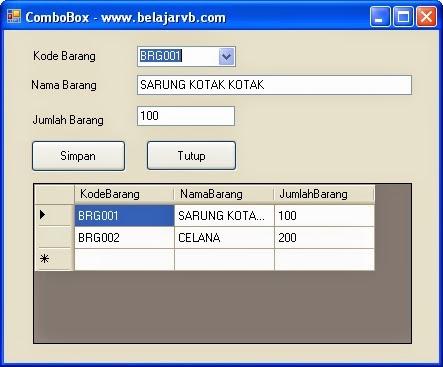 Belajar VB Memunculkan Data Ketika ComboBox di Klik