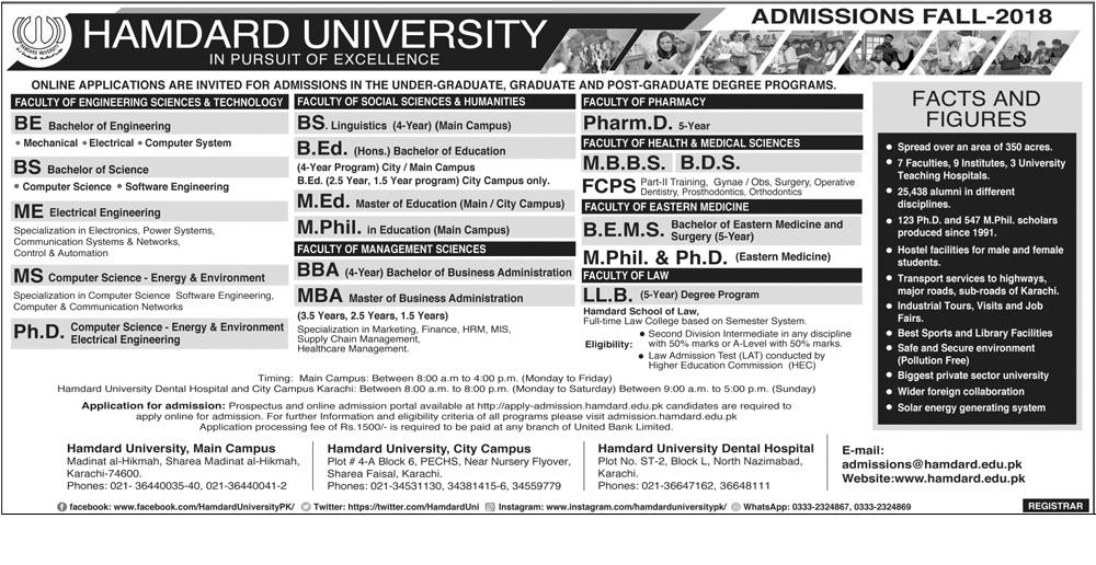 Hamdard University Admissions Fall 2018