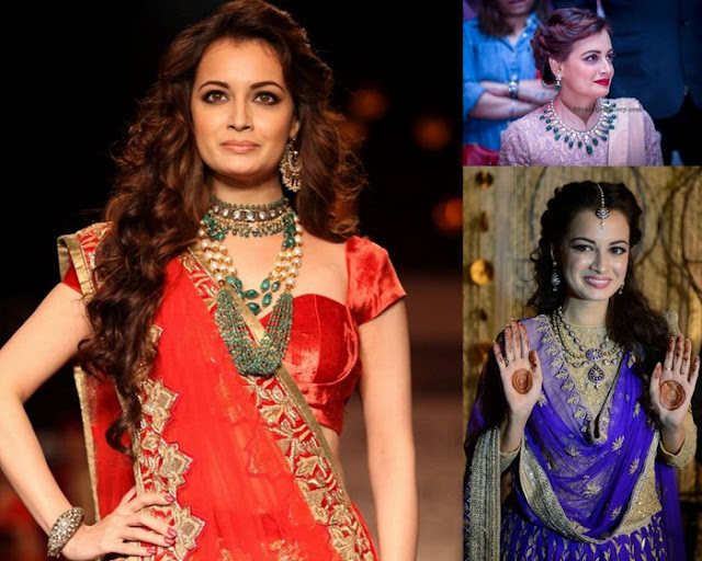 Dia Mirza Polki And Beads Jewellery