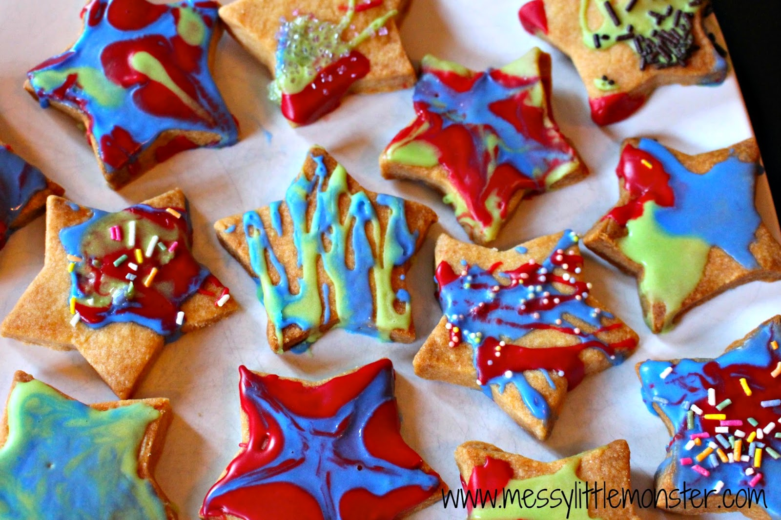 Firework Biscuits Messy Little Monster