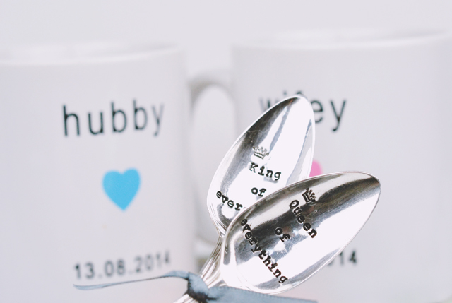 Personalised His and Hers Mugs Teaspoons