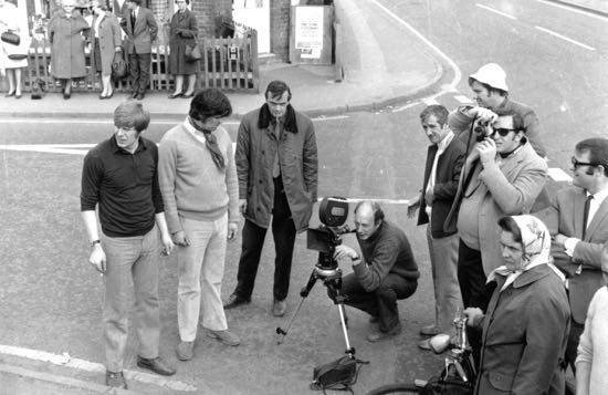 Photograph of TV advert being shot at the car showrooms on Dixons Hill Road - 1970s Image from the NMLHS, part of the Images of North Mymms collection