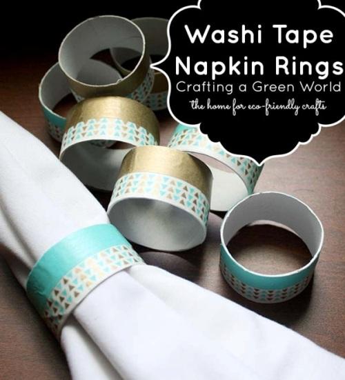 Cincin serbet terbuat dari karton paper towel dihias dengan washi tape
