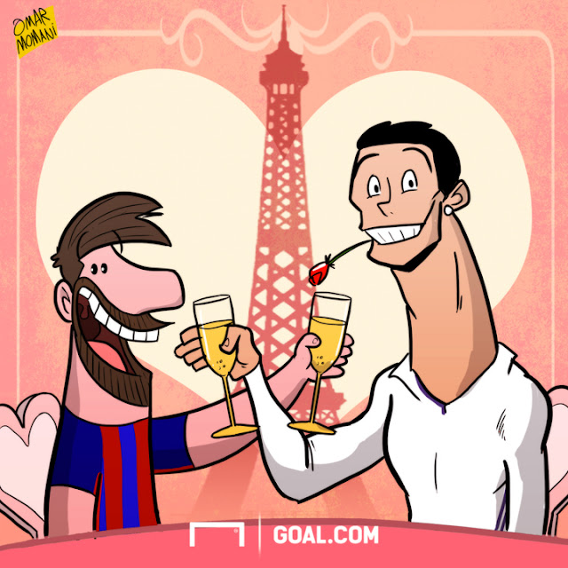 Cristiano Ronaldo and Lionel Messi cartoon