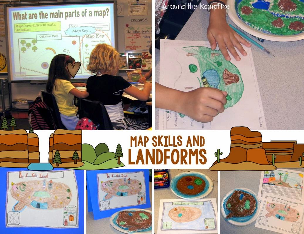 Landforms creative writing project~Using map skills.