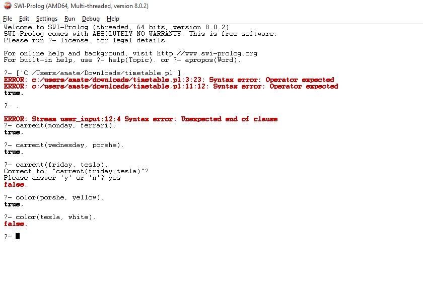 SWI Prolog expert system