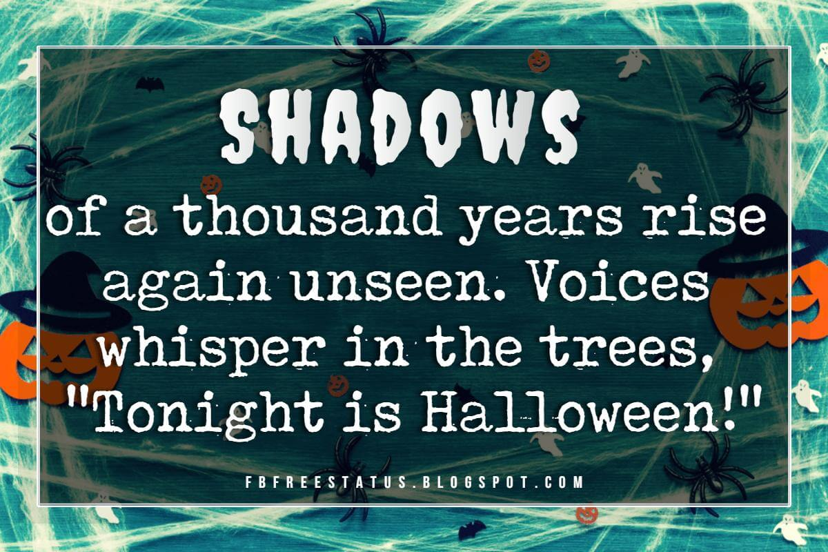 "Halloween Quotes And Sayings, ""Shadows of a thousands years rise again unseen, voices whisper in the trees, 'Tonight is Halloween!'"""