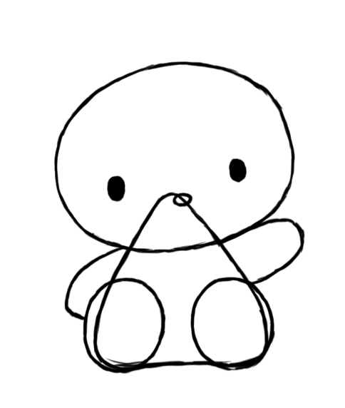 fae9dce75 After you have her basic body drawn, the next step is to draw Hello Kitty's  face. Start by drawing a small oval near the tip of the triangle as shown  in the ...