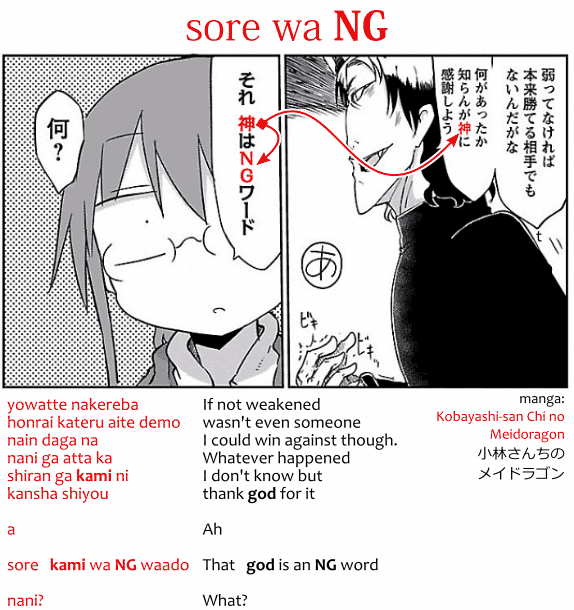 Sore wa NG, from manga Kobayashi-san Chi no Maidoragon 小林さんちのメイドラゴン: yowatte nakereba honrai kateru aite demo nain daga na, nani ga atta ka shiran ga kami ni kansha shiyou. a. sore. kami wa NG waado. nani? If not weakened wasn't even someone I could win against though. Whatever happened I don't know but thank god for it. Ah. That. God is an NG word. What? 弱ってなければ本来勝てる相手でもないんだが。なにがあったか知らんが神に感謝しよう。あ。それ。髪はNGワード。何?