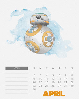Calendario 2017 de Star Wars para Imprimir Gratis  Abril.