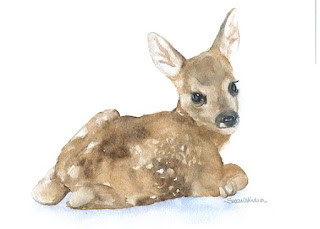Deer Fawn Watercolor Painting Giclee Print 5x7 Nursery Art baby girl boy bambi hand painted wall art 5x7 brown beige sweet cute