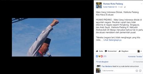 Wako Mahyeldi Kritisi Uang RI yang Tak Laku di Luar Negeri, Netizen: namanya juga pencitraan....hahaha