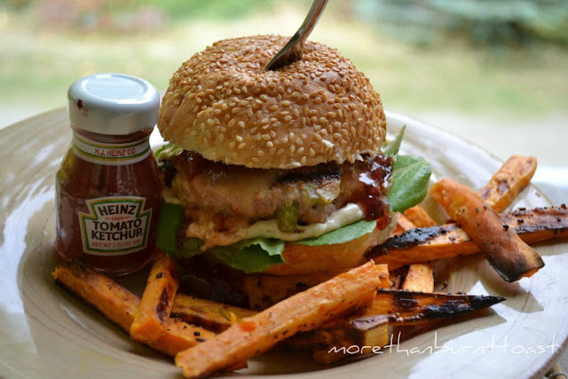 Thanksgiving burger with sweet potato fries and cranberry sauce