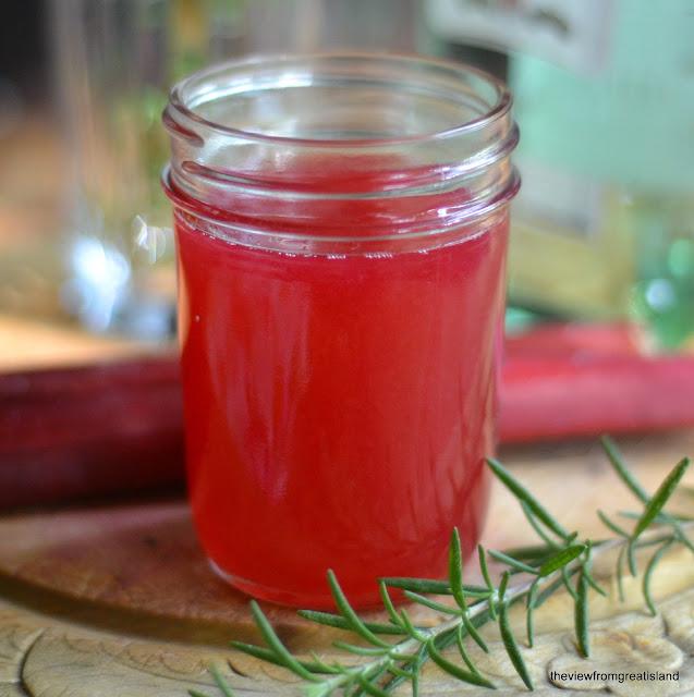 rhubarb simple syrup in a mason jar