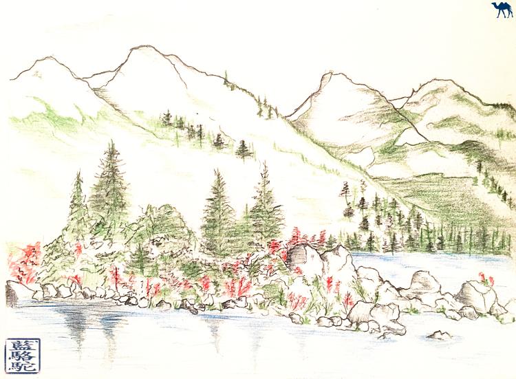 Le Chameau Bleu - Croquis du Garibaldi Lake Colombie Britannique