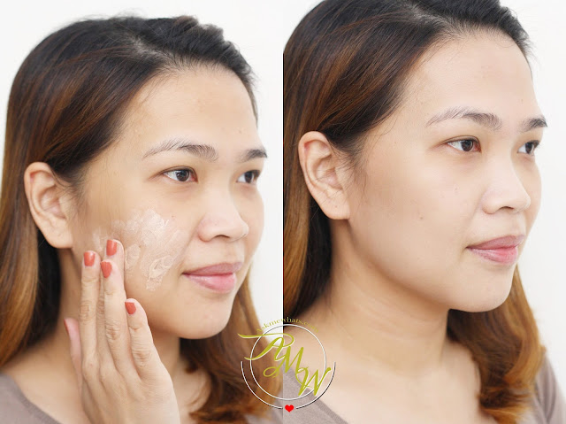 a photo of a girl using Belo Intensive Whitening Tone Correcting BB Cream
