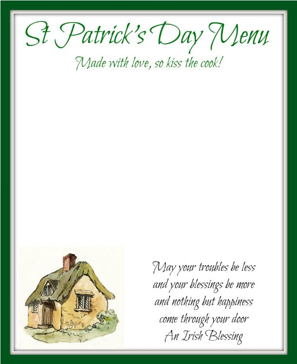 St Patricks Day Menu Printable