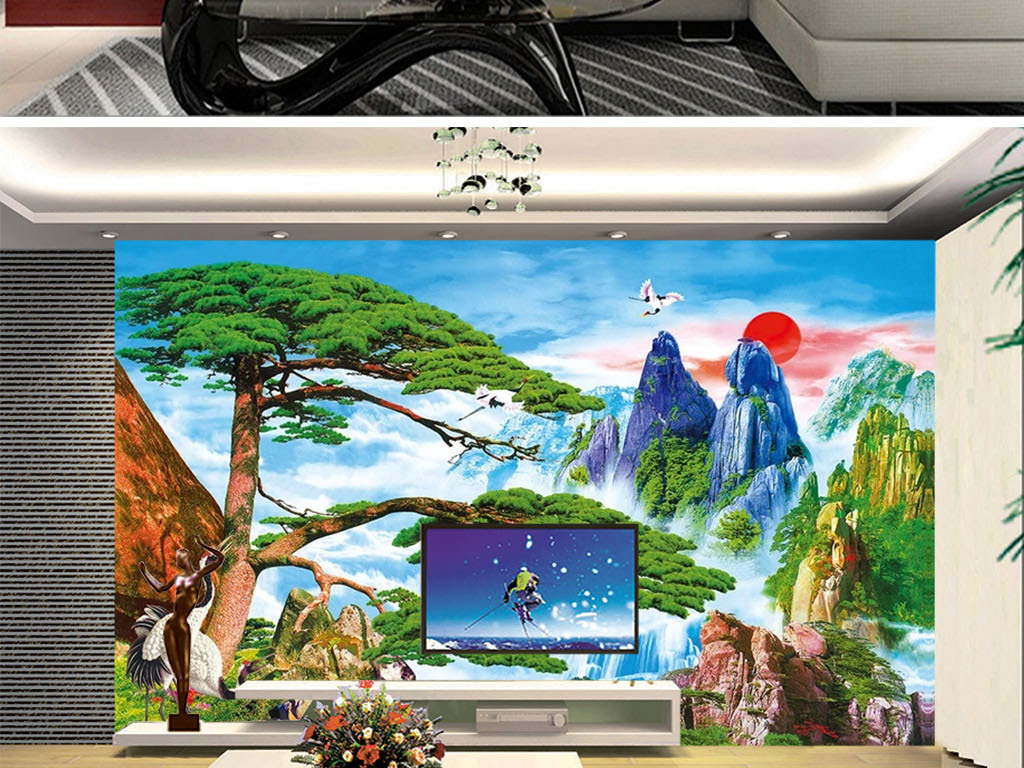 Tranh Dán Tường 3D phong Thủy Cây Tùng Và Đỉnh Núi
