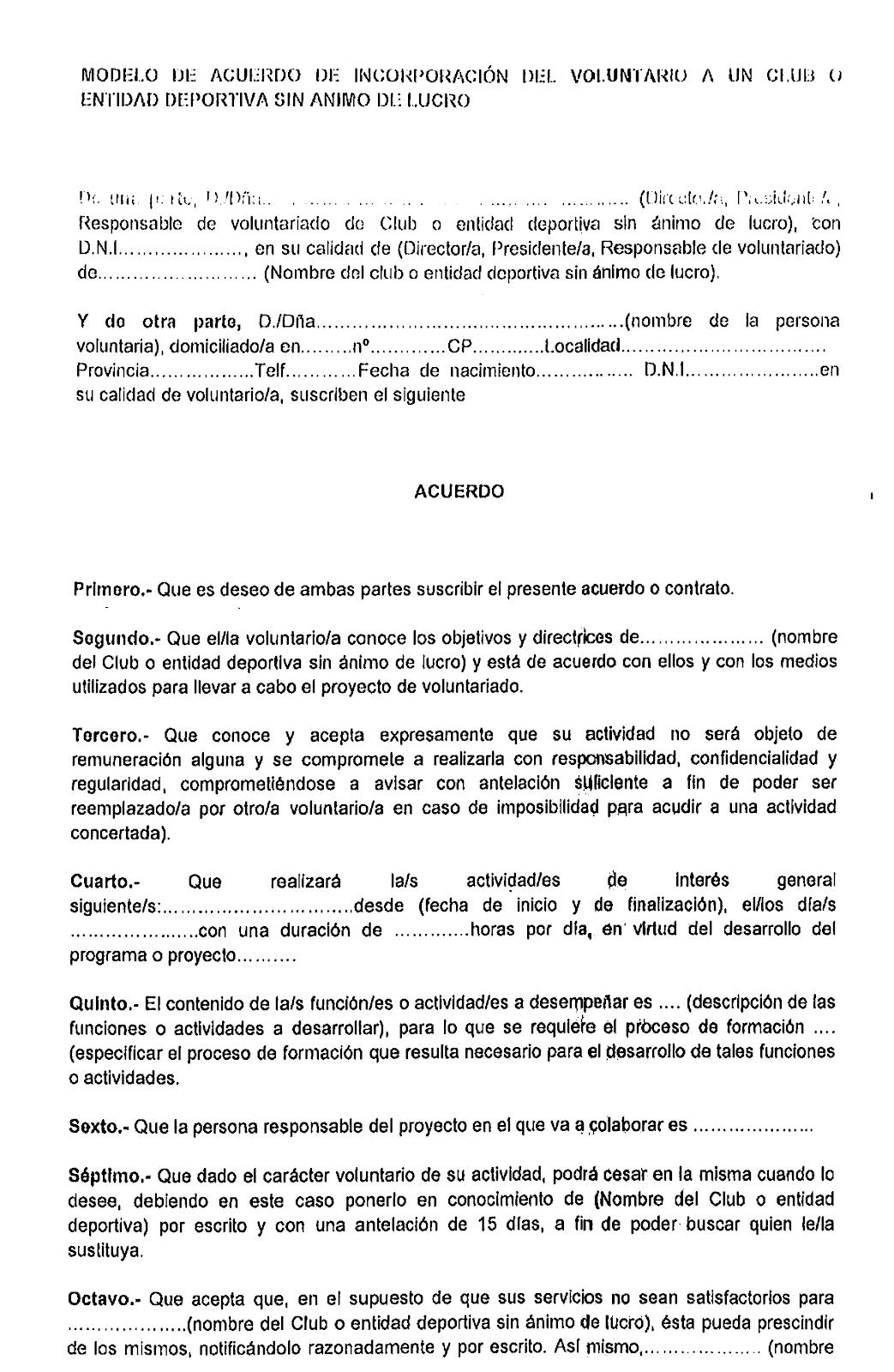 Modelo de contrato del voluntario en el fútbol base y aficionado ...
