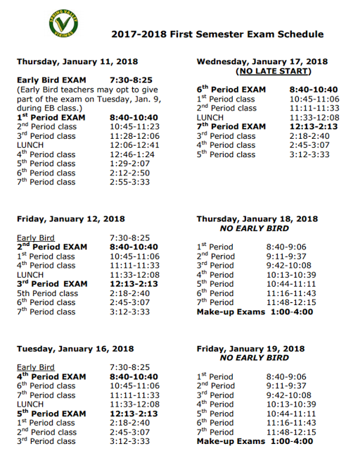 Viking Update: End of Course Exam Schedule: First Semester