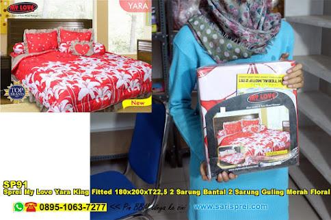 Sprei My Love Yara King Fitted 180x200xT22,5 2 Sarung Bantal 2 Sarung Guling Merah Floral Ornamen Batik Dewasa