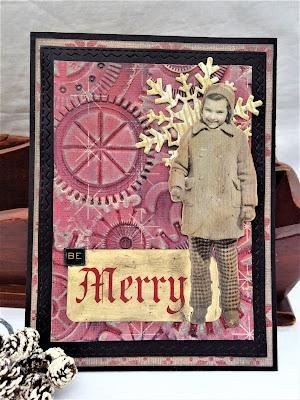 Sara Emily Barker http://sarascloset1.blogspot.com/ Be Merry Christmas card Tim Holtz 3D embossing 1