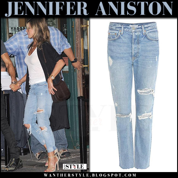 Jennifer Aniston in ripped grlfrnd jeans and beige sandals stuart weitzman july 18 2017 celebrity style