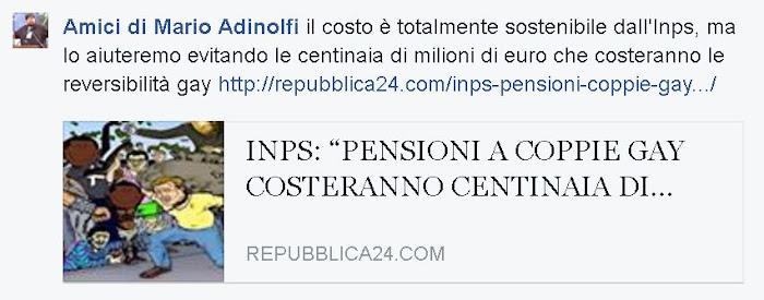 il costo è totalmente sostenibile dall'Inps, ma lo aiuteremo evitando le centinaia di milioni di euro che costeranno le reversibilità gay